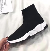 Wholesale Floor Double - Double Box Speed Trainer Boots Socks Stretch-Knit High Top Trainer Shoes Cheap Sneakers Black White Woman Man Couples Shoes Casual Boots