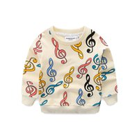 Wholesale baby boy pullover for sale - Boys Girls Music Pullover Colorful Music Notation Printed Long Sleeve Jumper Sweatshirt Brand Cotton Baby Toddler Outfits T