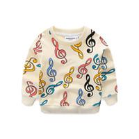 sudaderas 6t al por mayor-Chicos, niñas, música, jersey, colorido, música, notación, impresa, manga larga, jersey de puente, marca 95% algodón, bebés, niños pequeños 1-6T