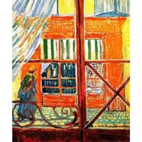 холст окон оптовых-Ручной работы современные картины Винсента Ван Гога свинина мясники магазин видно из окна холст для спальни Декор