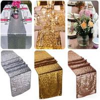 ingrosso tessuto di nozze del panno di tovagliolo-30 * 270cm Tessuto Paillettes Runner Oro Argento Sequin Tovaglia Sparkly Bling per la decorazione della festa nuziale Prodotti Forniture