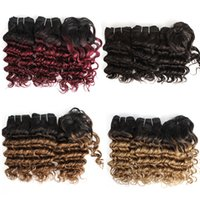 Wholesale brown ombre hair for sale - Kiss Hair Romance Curl Ombre Color Blonde Burgundy Brown Auburn Short Bob Style G Brazilian Deep Wave Ombre Hair