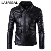 Wholesale men s leather overcoat - Wholesale- LASPERAL Fashion Men Pu Leather Motorcycle Jacket Coat Winter Autumn Punk Rock Windbreakers Overcoats Male 2017 New 5XL 4XL Z30