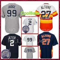 Wholesale free new york - New York 99 Aaron Judge 2 Houston 27 Jose Altuve Jersey Men's Cheap Baseball Jerseys sales Free Shipping CoolBase