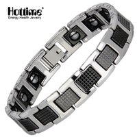ingrosso braccialetti di tungsteno nero per gli uomini-Hottime Punk Healthy Energy Bracciale Uomo Nero Catena Link Bracciali Gioielli Tungsten Magnete Braccialetti di Fascino per Uomo Gioielli Y1891709