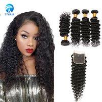 Wholesale Brazil Indians - TThair Human Hair 4 Bundles Deep Wave with4*4lace closure Natural Black Color Brazil Peruvian India hair Extensions