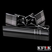 kravat çubuğu nakliye toptan satış-Kflk Için Yüksek Kaliteli Kol Düğmeleri Kravat Klip Kravat Pin Erkek Kravat Barlar Kol Düğmeleri Kravat Klip Seti Takı Için Ücretsiz nakliye Noel Hediyesi