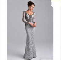 Wholesale Vintage Grey Mother Dress - Plus Size Mother's Formal Dress 2018 Grey Long Sleeves Mermaid Mother of the Bride Lace Dresses Beaded Saudi Arabic Long Evening Party Gowns
