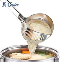 Wholesale Stainless Steel Long Spoon - Khgdnor Multifunctional Soup Spoon Stainless Steel Colander Spoon With Long Handle Strainer Filter Scoop Dinnerware Tool