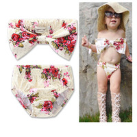 Wholesale bra kids girls for sale - Group buy Baby Girls Flowers Pattern Printed Bra Style Tops Flowers Briefs Split Swimsuits Kids Spa Swimwears Princess Children s Swimwear sizes a