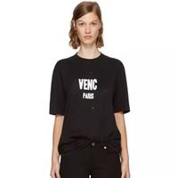 Wholesale black hole design - Brand design SS18 Summer Street wear Europe Paris Fan Made Fashion Men High Quality Broken Hole Cotton Tshirt Casual Women Tee giv HFLSTX175