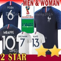 Wholesale breathable shirts - New 2 Star GRIEZMANN #7 10 MBAPPE 6 POGBA Soccer Jersey 13 KANTE 11 DEMBELE 9 GIRQVD 8 LEMAR 20 Martial MENDY 2018 world cup Football Shirt