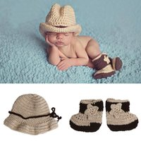Wholesale hats shoes crochets for sale - Group buy Fashion Newborn Photography Props Baby Infant Crochet Knit Cowboy Costume Hat Photo Props Baby Cap Shoes