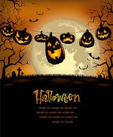 vinylfotografie backdrops halloween großhandel-Benutzerdefinierte Halloween Fotografie Backdrops Mysteriöse Nacht Kürbisse Hintergründe für Foto Studio Vinyl Tuch Computer gedruckt
