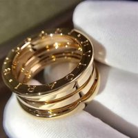 Wholesale 14k Gold Couple Rings - Italy jewelry 316L Titanium silver gold rose 3 color 3 layer spring ring Couple lover wedding rings of men women Brand Logo Rings