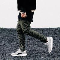 hombres con cremallera cadena al por mayor-Hombres Jogger Justin Bieber KANYE WEST Negro Verde Gris Caqui Cremallera lateral Pantalones Harén Mens Jumpsuit Cadena de goma inferior Hip Hop P01
