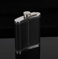 Wholesale wholesale baby bottle covers - Hip Flask Stainless Steel Flagon Wine Pot Outdoor Portable PU Leather Cover Hip Flasks Bottle Baby Feeding GGA663 40PCS
