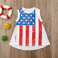Wholesale Striped Party Dress - July Fourth Toddler KidS Girls Princess Dress Summer Casual Holiday Party Sundress Independence Day Boutique Kid Girl Clothes