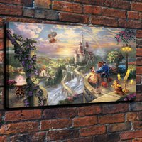 Wholesale beauty beast painting for sale - Group buy Modern Giclee Art Canvas Wall Art HD Prints Paintings Colorful Beauty Danced with Beast Movie Posters Living Room Home Decor