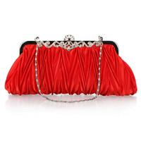 bride bag achat en gros de-Lady Fashion Red Gold Blanc Argent Satin Elegante Sacs De Soirée Sac À Main D'embrayage Dames Bourse À Volants Sac Mariée Demoiselle D'honneur De Mariage Sacs