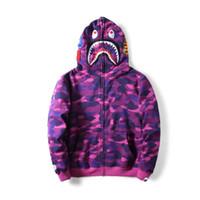 hoodies roxo dos homens venda por atacado-Moda Mens Camisola Roxa Hedging Cardigan Tubarão Com Capuz Camisolas Hoodies Para Mulheres Dos Homens Camuflagem Hoodies