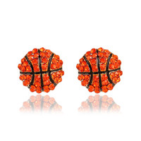 Wholesale Rhinestone Basketball Jewelry - Fashion Sports competition ball stud Earrings crystal Rhinestone basketball baseball Rugby softball volleyball Earring For women Jewelry