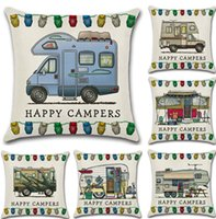 Wholesale hotel brand pillows - Brand New Happy Campers Pillowcase 45*45cm Cotton Linen Cars Pillow Covers Decorative Throw Pillow Case Cushion Cover for Sofa Home Car