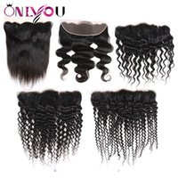 Wholesale human hair weave lace parting for sale - Group buy Cheap Brazilian Virgin Hair Lace Closure Frontal Ear to Ear For Human Hair Weave Bundles Straight Body Deep Wave Kinky Curly Hair Extensions