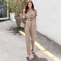 5651d178761 2018 Women Korean Autumn Jumpsuit Sexy Lace Up Romper Elegant V Neck Loose  Jumpsuit Work Blazer Suit
