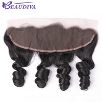 free sheds 2018 - 13x4 Lace Frontal From Ear To Ear 100% Virgin Human Hair Cheap Brazilian Loose Wave Curly Frontal Lace Closure No Shedding&Tangle