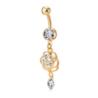 Wholesale fake gold chains - Gold Charm 2017 Fashion Hollow Crystal Zircon Navel Piercing Fake Belly Button RIngs Body Jewelry For Women