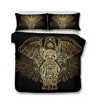 ingrosso 3d bedding set-3D Art Zen Design designer di biancheria da letto di lusso Set di biancheria da letto elefante e cervi Set 3 pezzi Copripiumino Copricuscino King Size Tutto il formato