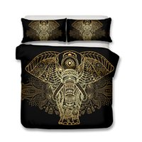 Wholesale designer king size bedding sets for sale - 3D Art Zen Design designer luxury bedding sets Elephant and Deer Bedding Set Duvet Covers Pillow Case King Size All Size
