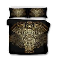 conjunto edredón adulto al por mayor-3D Art Zen Design diseñador juegos de cama de lujo Conjuntos de ropa de cama de elefantes y ciervos Fundas nórdicas de 3 piezas Funda de almohada King Size Todo el tamaño