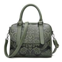 ulusal çince toptan satış-2018 yeni omuz çantası kadın ulusal tarzı kabartmalı pu Boston çantası Çin tarzı kadın taşıma messenger çanta