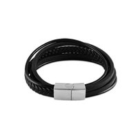 Wholesale mens stainless steel wristband online - Multilayer Genuine Leather Bracelets Punk Men Wristband Men s Handmade New Arrival Mens Bracelet Fashion Party Jewelry