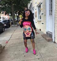 ingrosso abbigliamento grande signore-Abbigliamento da donna di marca Taglie forti Faces Ladies Nappa Stampa Graffiti Holiday Beach Punk Rock Abito casual in cotone sciolto