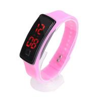 kadın şeker saatleri toptan satış-2018 Yeni Moda Spor LED Saatler Şeker Jelly erkekler kadınlar Silikon Kauçuk Dokunmatik Ekran Dijital Saatler Bilezik Bilek İzle