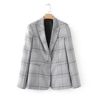 Wholesale notch collar slim fit suits - Chic Gray Notched Collar Contrast color Plaid Blazer Vintage Woman One Button Slim fit Short Suit Jacket Coat