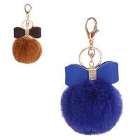 искусственного меха мяч брелок оптовых-8CM Big Faux Fur Plush Ball Keyrings for Women Bowknot Key Chain Rhinestone Keys Ring Lady Girl Handbag Pendant Car Keychain