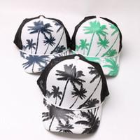 Wholesale trees snapback - Summer Sun Hat Coconut Tree Pattern Mesh Baseball Cap For Men And Women Snapback Hot Sale 6 8bj BB