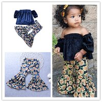 Wholesale Girls Floral Harem Pants - 2018 Girls Childrens Clothing Set One-Shoulder Tops Floral Harem Pants 2Pcs Set Summer Girl Kids Suits Fashion Boutique Enfant Clothes