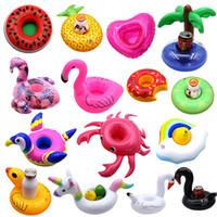 aufblasbarer flamingo großhandel-Schwimmende aufblasbare Spielwaren trinken Becherhalter Getränke Party Donut Einhorn Flamingo Wassermelone Zitrone Kokosnussbaum Ananas geformte Pool Spielzeug