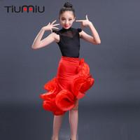 rote tanzröcke großhandel-latein tanzkleid für mädchen kinder salsa für wettbewerb tragen rote röcke kostüme gesellschaftstanz kleider kinder bühnentanz