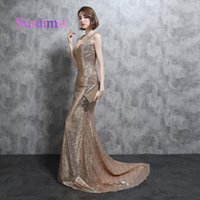 Wholesale Blue Satin Robes - Sequins Prom Dresses Robe de Soiree V Neck Sweep Train With Sleeveless Mermaid Long Evening Dresses Fast Shipping