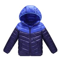 Wholesale Winter Feather Jacket Girls - Children winter new feather thickening fashion cap boys and girls wearing jackets splicing