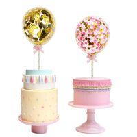 wedding cake supplies decorations achat en gros de-1 Set 5 pouces Confetti Balloon Cake Topper Décoration avec Papier Paille Arc Baby Shower Favors De Mariage Fête D'anniversaire Fournitures
