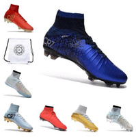 Wholesale kids ankle football boots superfly for sale - 2019 Kids Soccer Cleats Mercurial Superfly VI CR7 SuperflyX Elite TF Soccer Shoes Ronaldo High Ankle Football Boot
