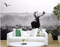 ingrosso scenario bianco nero-Carta da parati 3d foto personalizzata Silent forest morning fog alce in bianco e nero scenario pittura 3d murales carta da parati per pareti 3 d