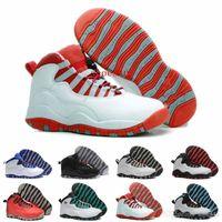 çelik ayakkabılar toptan satış-2017 ucuz adam basketbol ayakkabı 10 X Chicago Çelik Gri Toz Mavi spor sneaker ayakkabı, online satış abd boyutu 8-13
